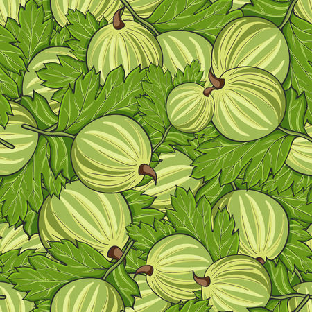 Seamless pattern all gooseberry and leaves, vector illustration.