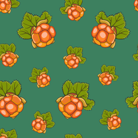 Seamless pattern hand drawn cloudberry and leaves on a green background, vector illustration.