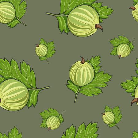Nahtlose Musterhand gezeichnete Stachelbeere und Blätter auf einem grünen Hintergrund, Vektorillustration.