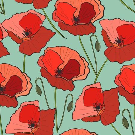 Seamless pattern poppy flower, vector Illustration