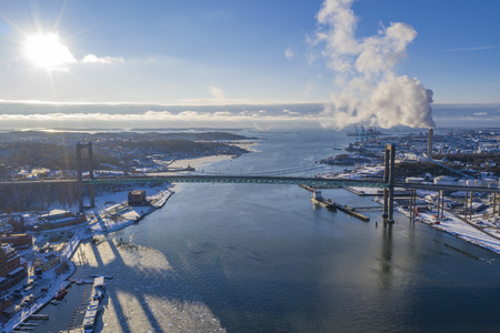 Winter at the river in Gothenburg Stock Photo