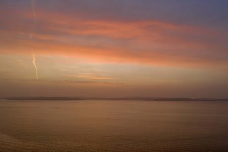 Orange sunset in winter drone photo