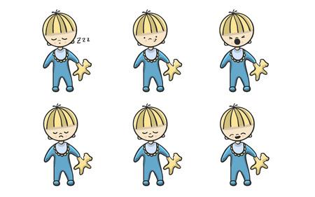 Hand drawn cartoon babies set, vector Illustration