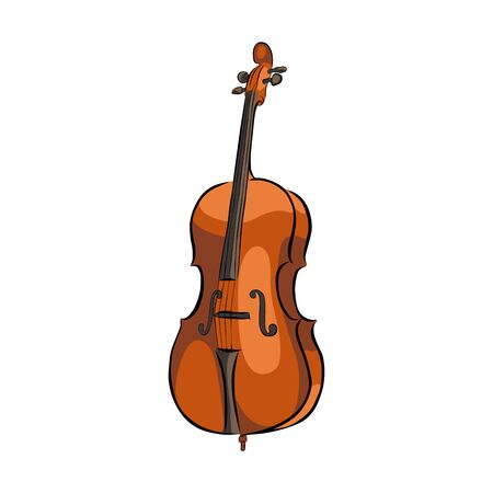 Hand drawn cello musical instrument, vector