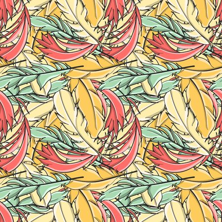 Seamless pattern all feathers, vector