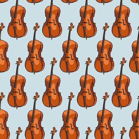 Seamless pattern cello musical instrument, vector