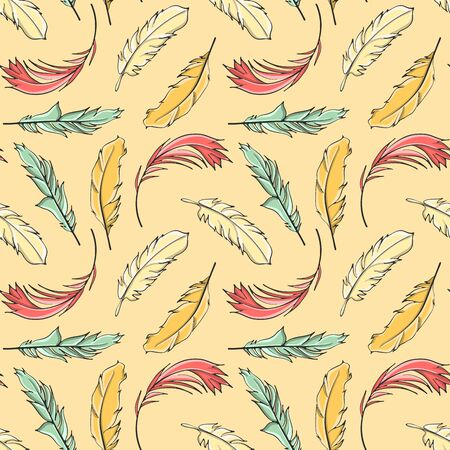 Seamless pattern Easter feathers, vector  イラスト・ベクター素材