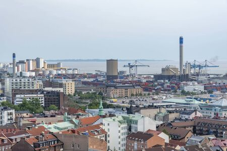 Helsingborg city with harbour