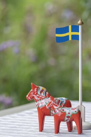 Background with Swedish objects 写真素材