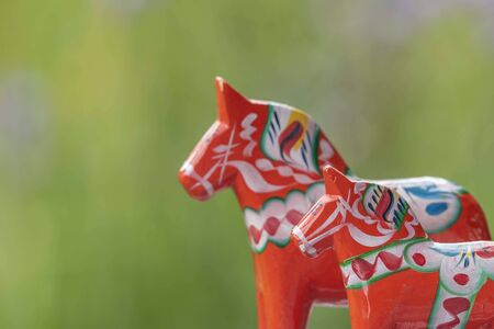 Background with Swedish wooden horses 写真素材