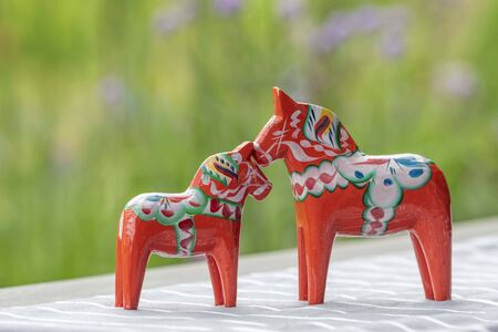 Parenting Swedish wooden horses 写真素材