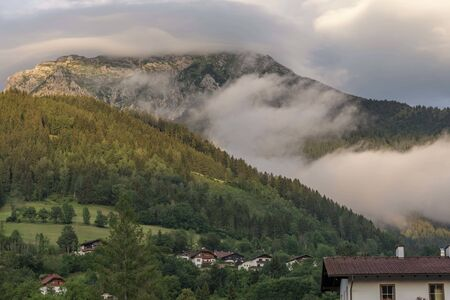 Austrian alps with clouds