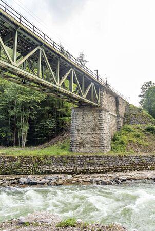 Framework railway bridge in Austrian alps