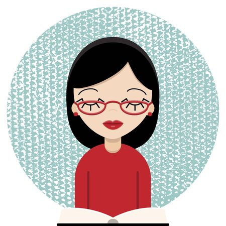 Bookworm woman with glasses reading, vector 向量圖像