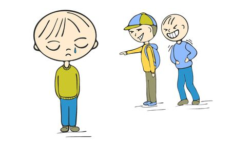 School children bullying boy, vector