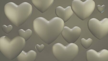 Background white hearts 3D render