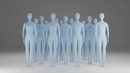 Group of humanoids 3D rendering Zdjęcie Seryjne