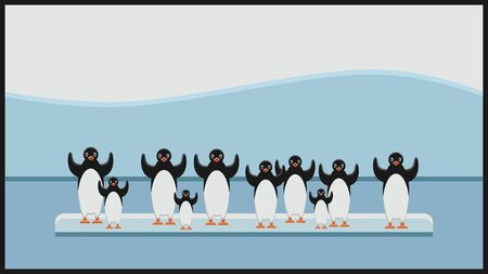 Group of penguins at global warming, vector