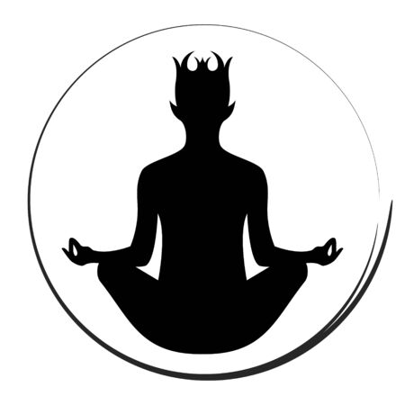Yoga elf serenity meditate fantasy symbol, vector