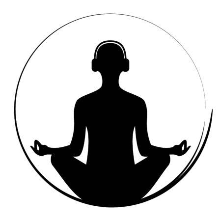 Yoga woman meditationg with headphones, vector Illustration