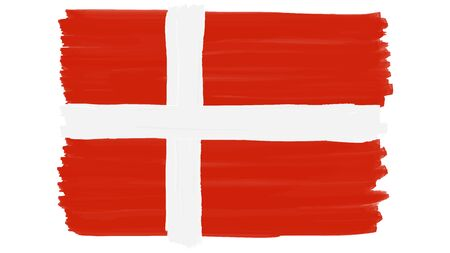 Flag symbol of Denmark painted, vector 向量圖像