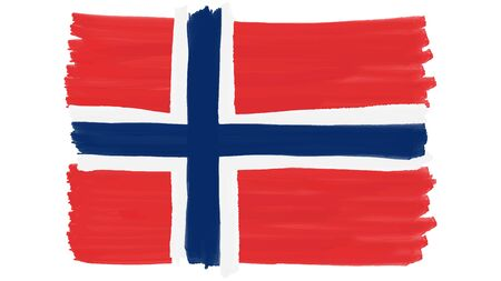 Flag symbol of Norway painted, vector