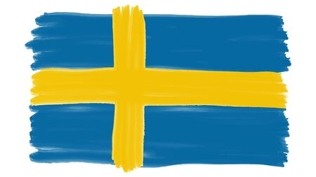 Flag symbol of Sweden painted, vector Фото со стока - 138739414