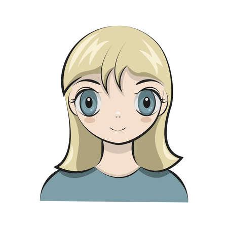 Anime blond girl avatar vector Ilustrace