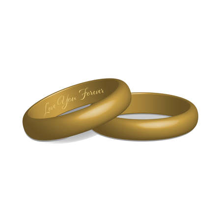 Love you inscription wedding rings in 3D render vector Ilustrace