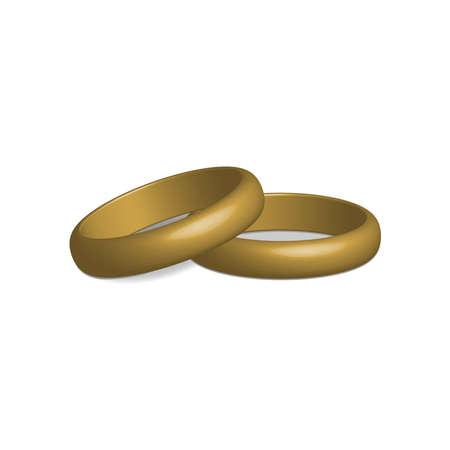 Golden wedding rings in 3D render vector Ilustrace