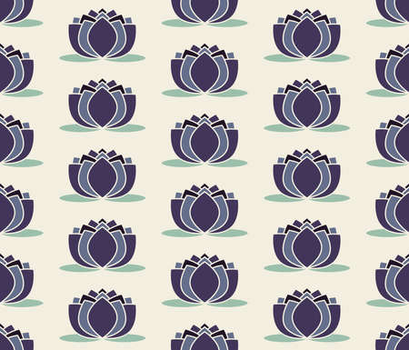 Seamless pattern purple water lily vector