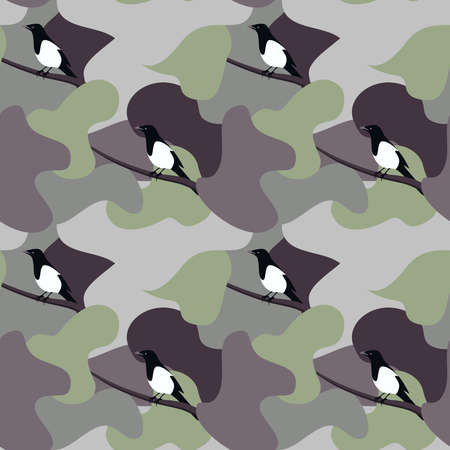 Seamless pattern magpie bird vector