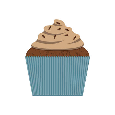 Chocolate cupcake isolated vector
