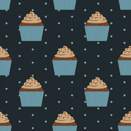 Seamless pattern chocolate cupcake vector