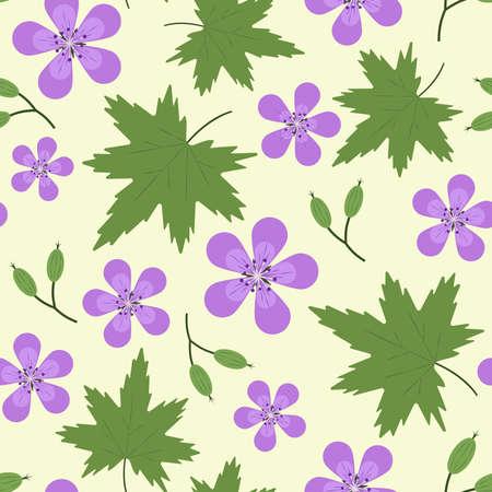 Seamless pattern woodland geranium in midsummer