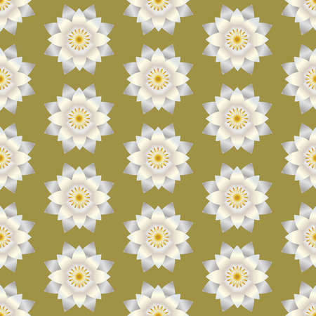Seamless pattern white shiny lotus