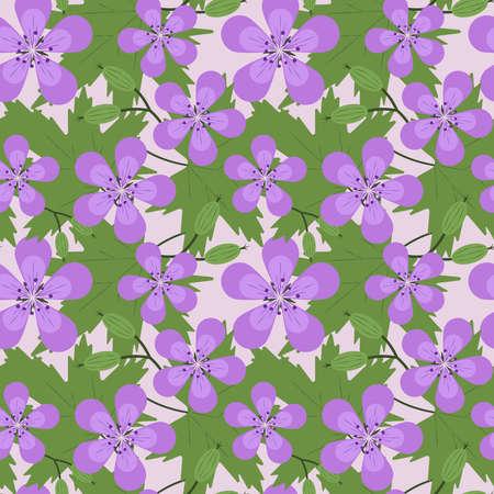 Seamless pattern all woodland geranium Ilustrace