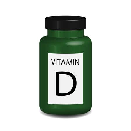 Vitamin D jar in 3D vector