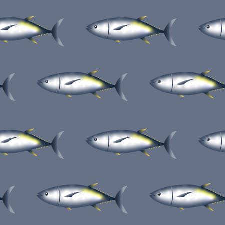 Seamless pattern shiny tuna fish Ilustrace