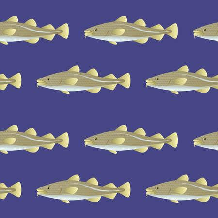 Seamless pattern cod fish background