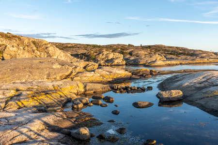 Evening sunlight at the cliffs in summer