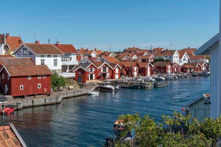 Old wooden houses at Gullholmen in Sweden
