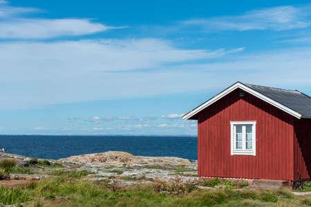 Red wooden building at Maseskar in Sweden