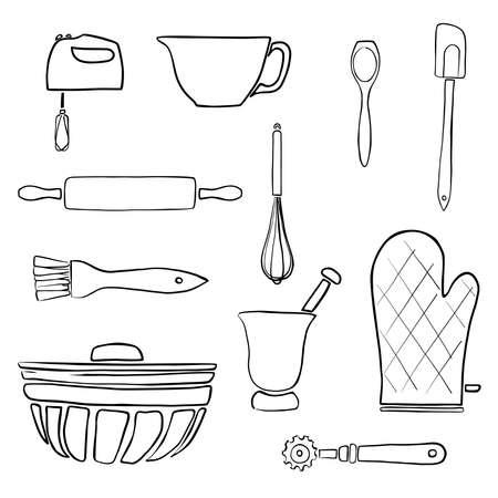 Line art baking supplies sketches