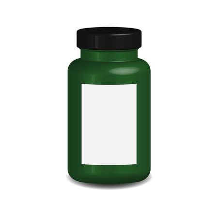 3D render vitamin or medicine jar with empty label