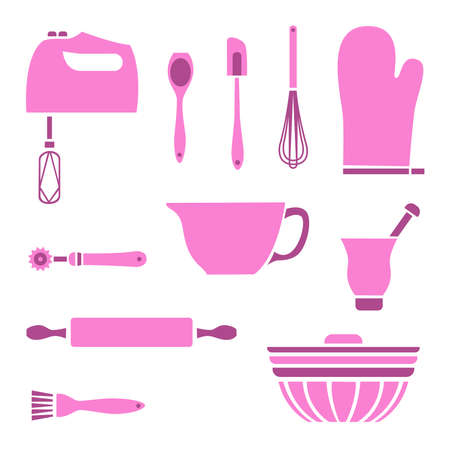 Set of graphic baking supplies Ilustracja