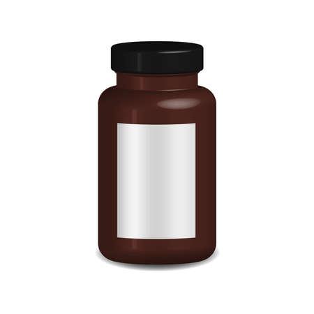 3D render brown medicine jar with empty label Ilustrace