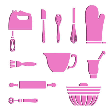 Set of baking supplies with 3D effect Ilustracja