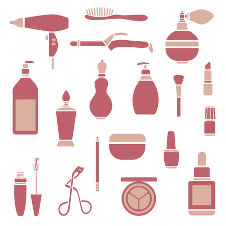 Set of graphic beauty supplies