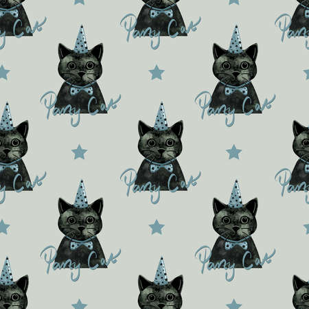 Seamless pattern party cat animal